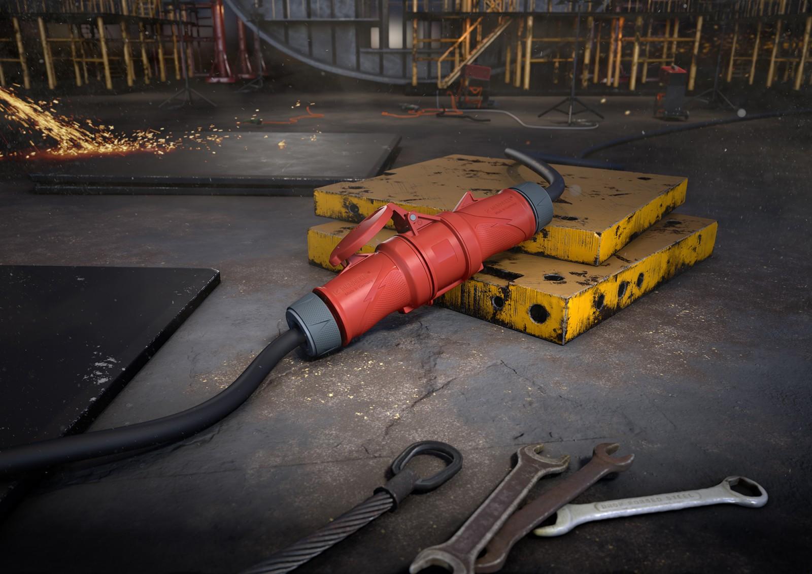 Stecker Powertop liegt auf Baustelle